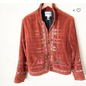 Chico's velvet boho Aztec print blazer sz 3